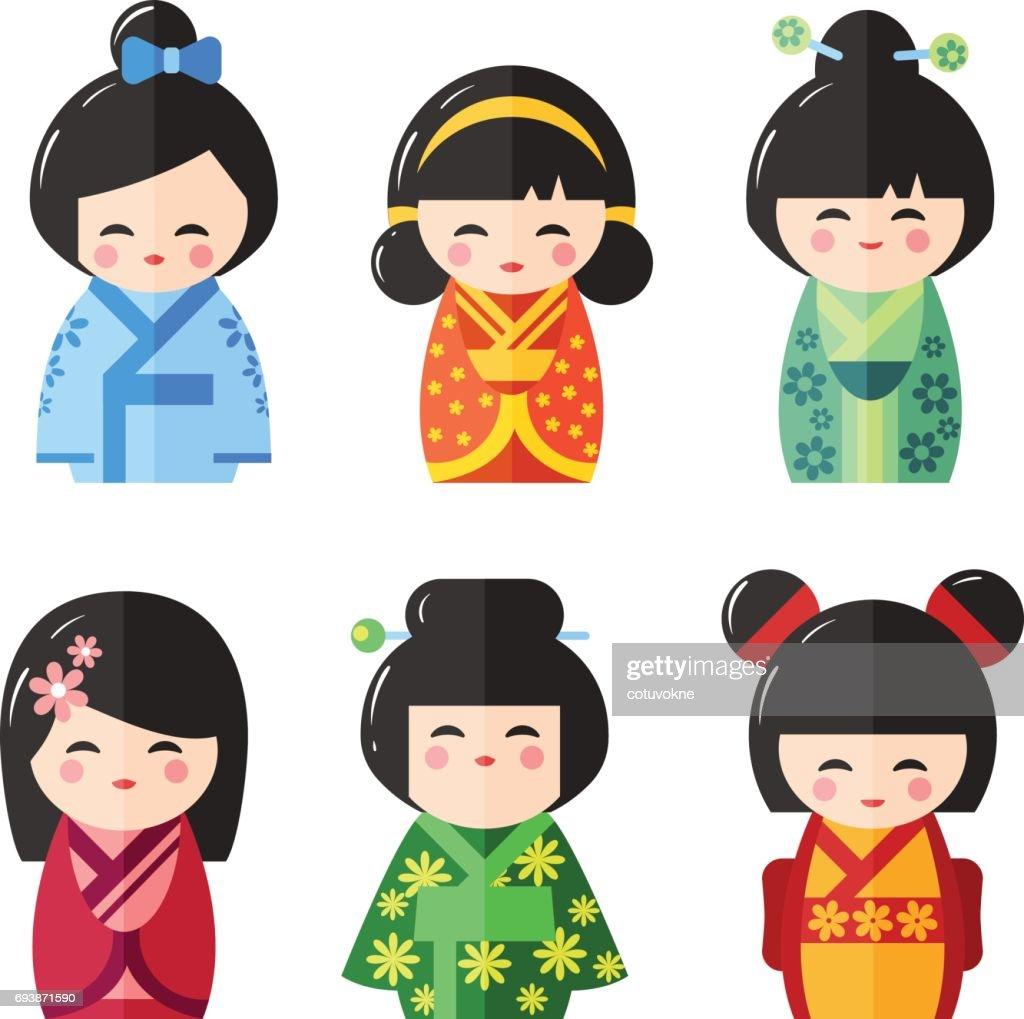 Japanese Kokeshi Dolls, vector icons