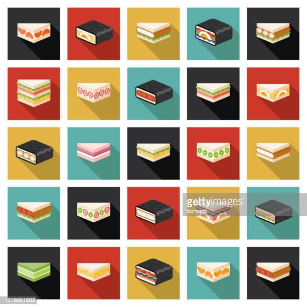 illustrations, cliparts, dessins animés et icônes de ensemble d'icônes japonais konbini sandwiches - yōshoku