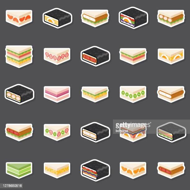 illustrations, cliparts, dessins animés et icônes de ensemble d'autocollants japonais konbini sandwiches - yōshoku