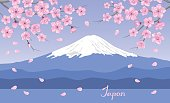 Japanese landscape with blooming sakura flowers branches and mount Fuji