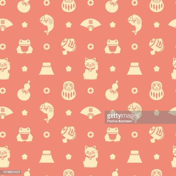 ilustrações, clipart, desenhos animados e ícones de amuletos da sorte japonês silhueta ícone sem costura padrão - mt. fuji