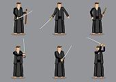 Japanese Man and Samurai Sword Vector Illustration