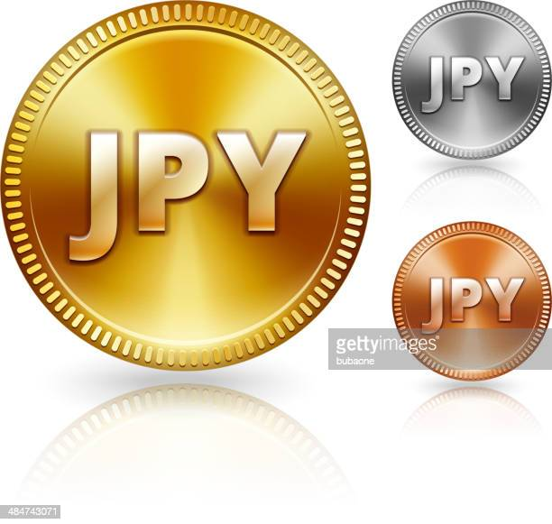 japanese metallic currency color set - bringing home the bacon stock illustrations