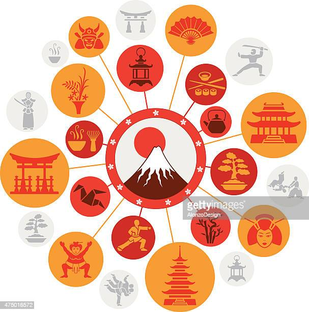 japanese montage - mt. fuji stock illustrations, clip art, cartoons, & icons