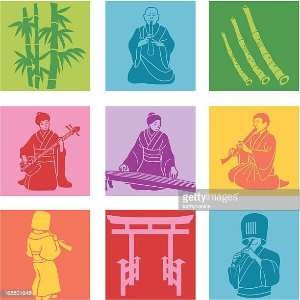 ilustrações de stock, clip art, desenhos animados e ícones de música japonês - vangen