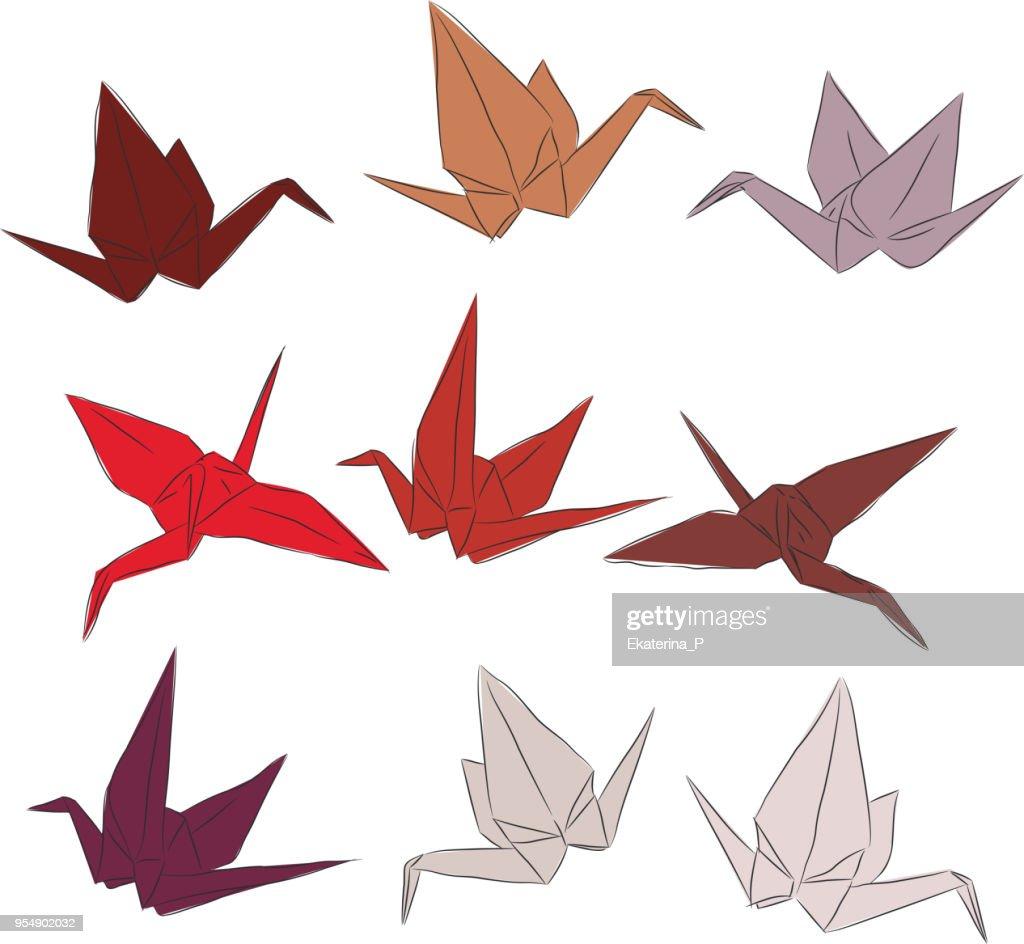 Japanese Origami Paper Cranes Set Orange Red White Pink Symbol Of