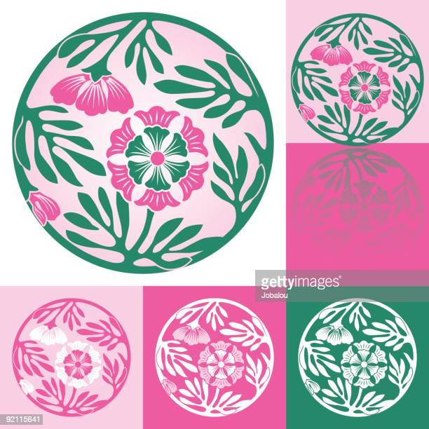 japanese ornament with three flowers of visco - shikoku stock illustrations, clip art, cartoons, & icons