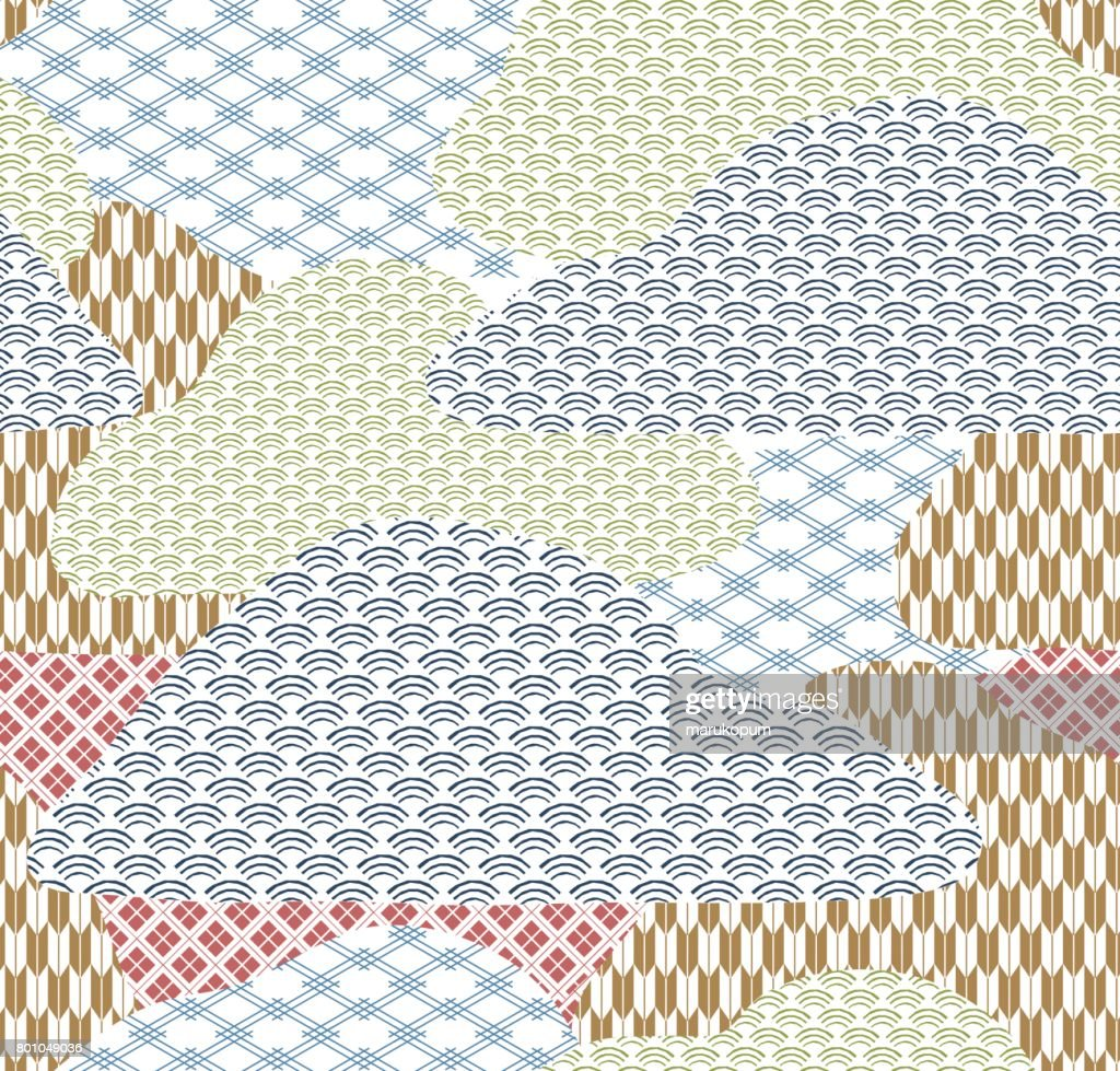 Japanese pattern background. Collage vector in Japanese style.