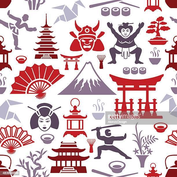 ilustrações, clipart, desenhos animados e ícones de padrão japonês - mt. fuji