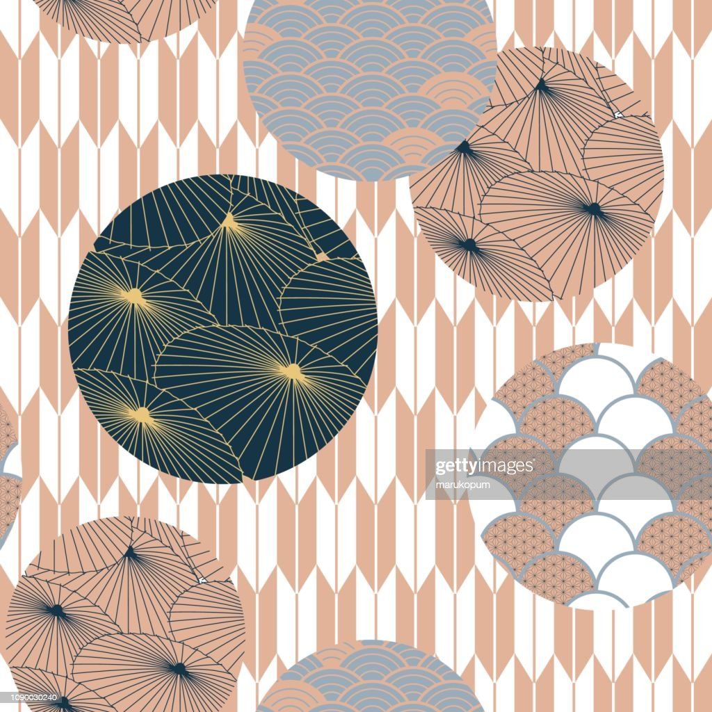 Japanese pattern vector. Pink and blue umbrella background template.