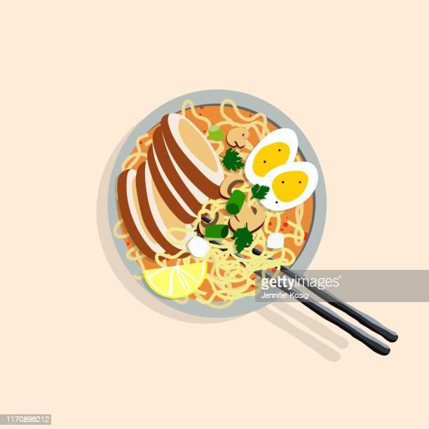 japanese ramen illustration - ramen noodles stock illustrations