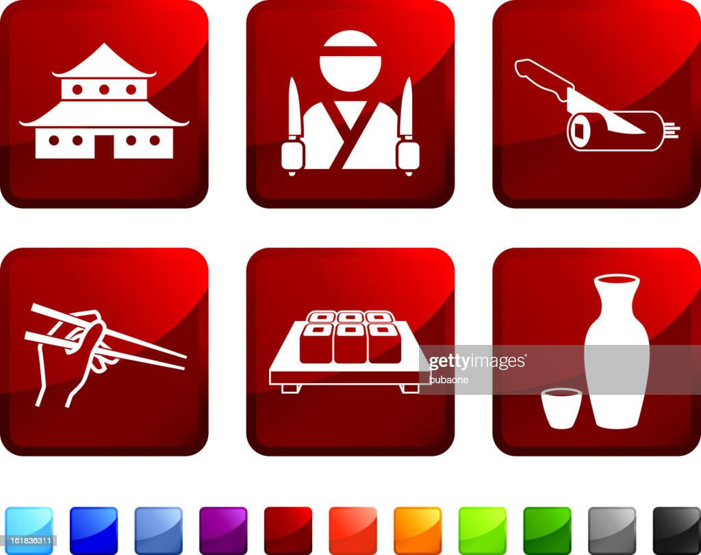 Japanese Restaurant and Chef royalty free vector icon set