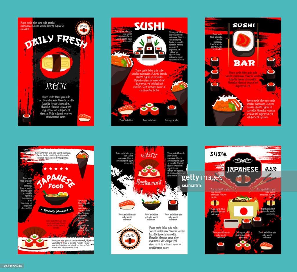 Japanese restaurant and sushi bar menu template