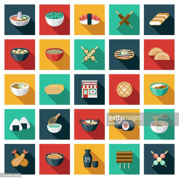 illustrations, cliparts, dessins animés et icônes de ensemble d'icônes de restaurant japonais - tonkatsu