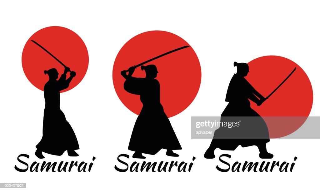 3 Japanese Samurai Warriors Silhouette with katana sword.