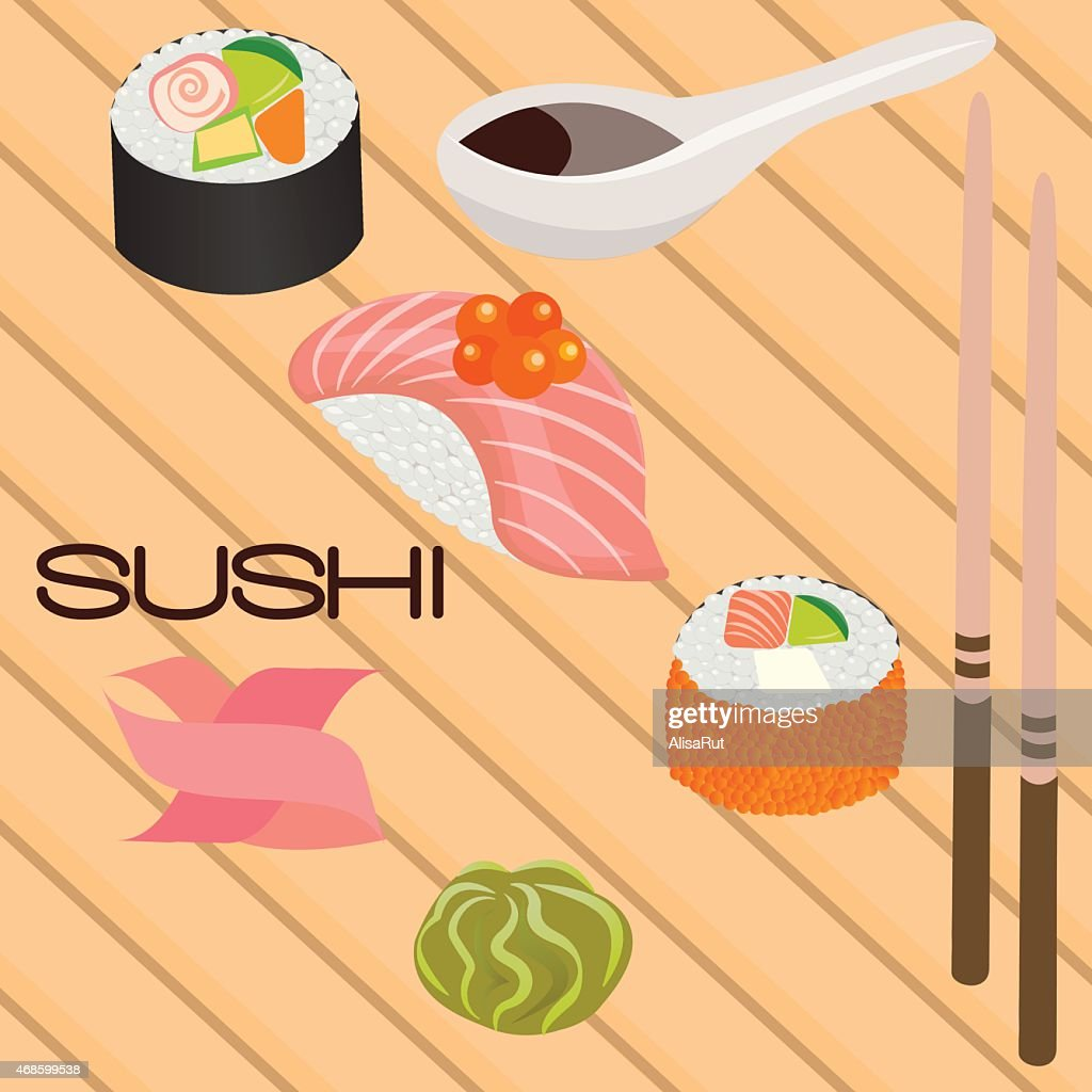 Japanese seafood sushi , roll and chopsticks