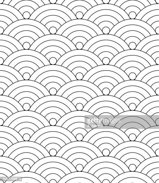 Japanese seamless circle abstract wave pattern