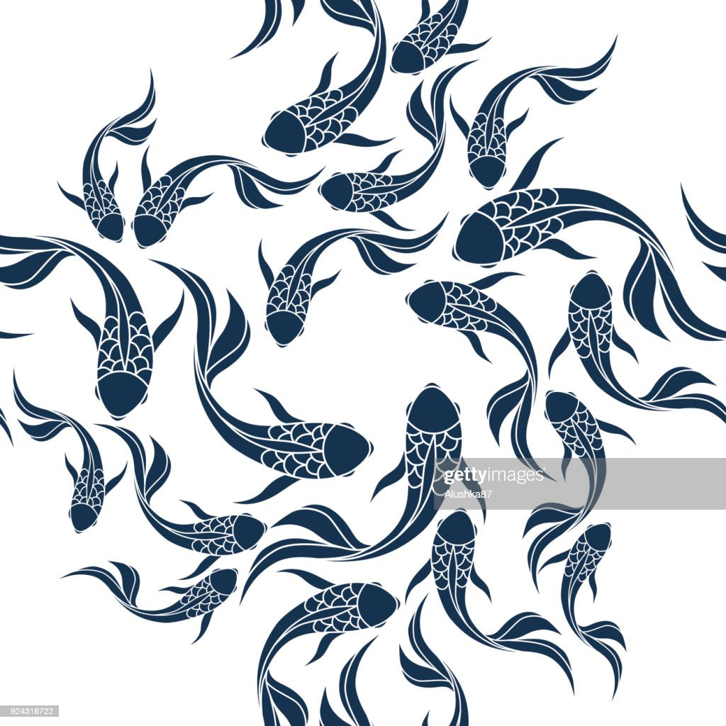 Japanese seamless pattern with koi carps. Chinese vector background with koi fish.