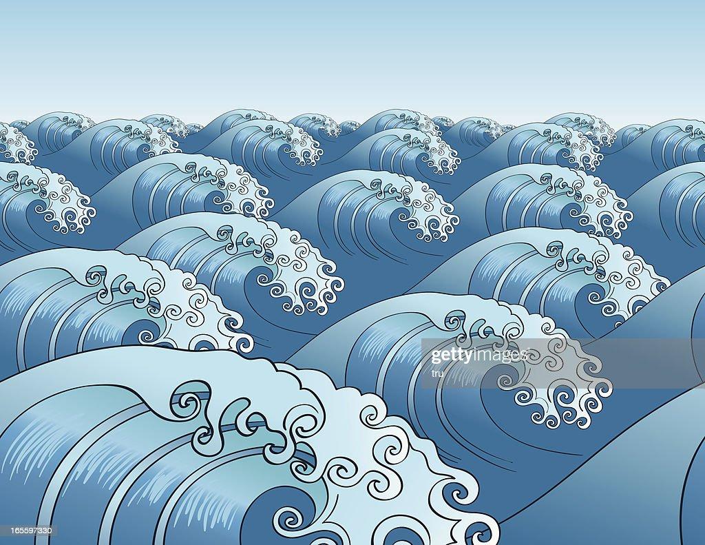 Japanese Seamless Wave Pattern Horizontal Vector Art ...