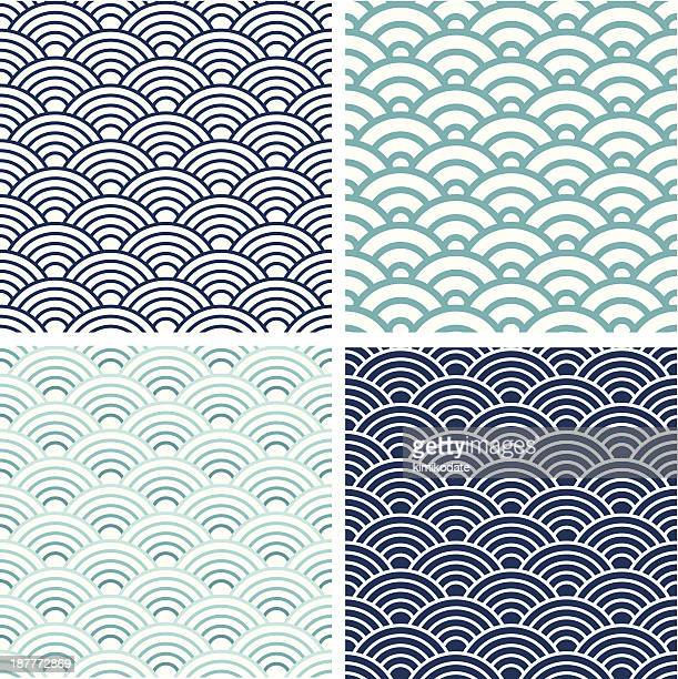Japanese Seigaiha seamless pattern set