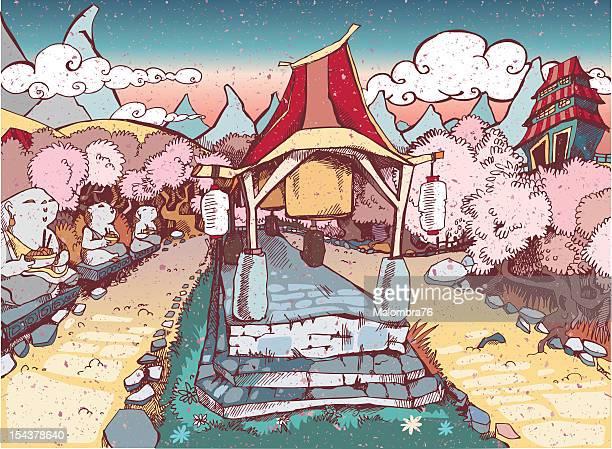illustrations, cliparts, dessins animés et icônes de sanctuaire japonaise - cerisier japonais