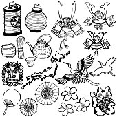 Japanese sightseeing illustrations. hand drawn illustrations.
