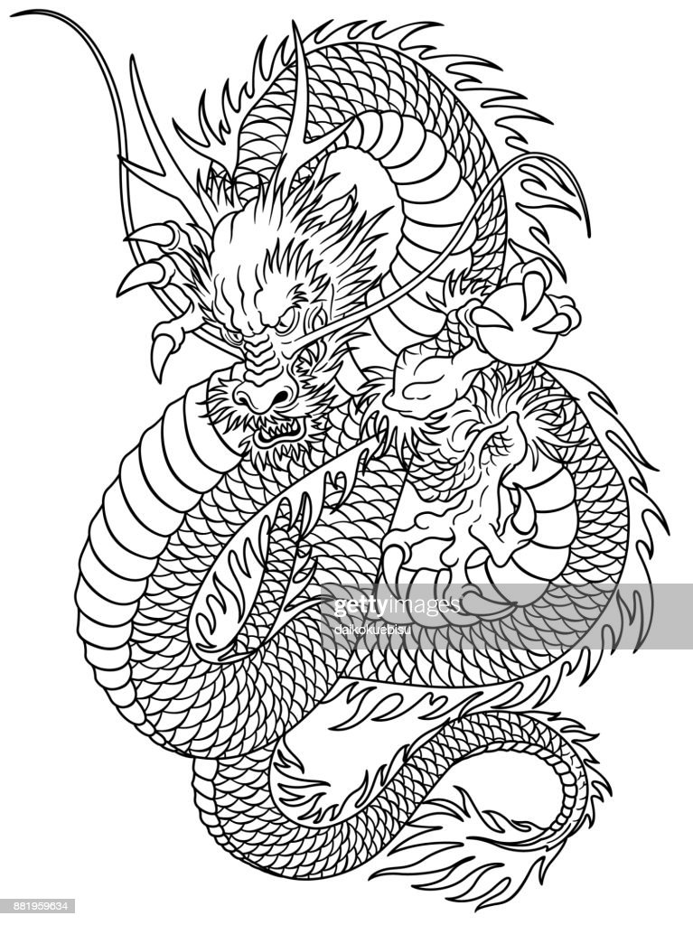Japanese style dragon pattern