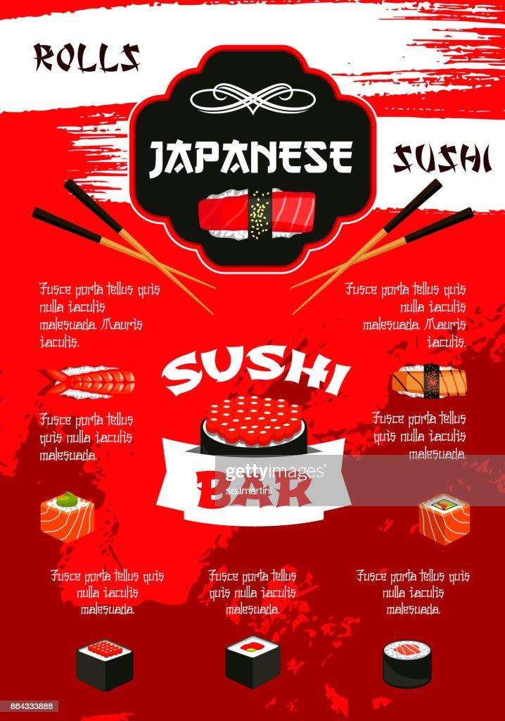 Japanese sushi bar menu poster template design