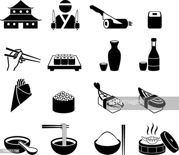 Japanese Sushi Restaurant black and white royalty-free vector icon set