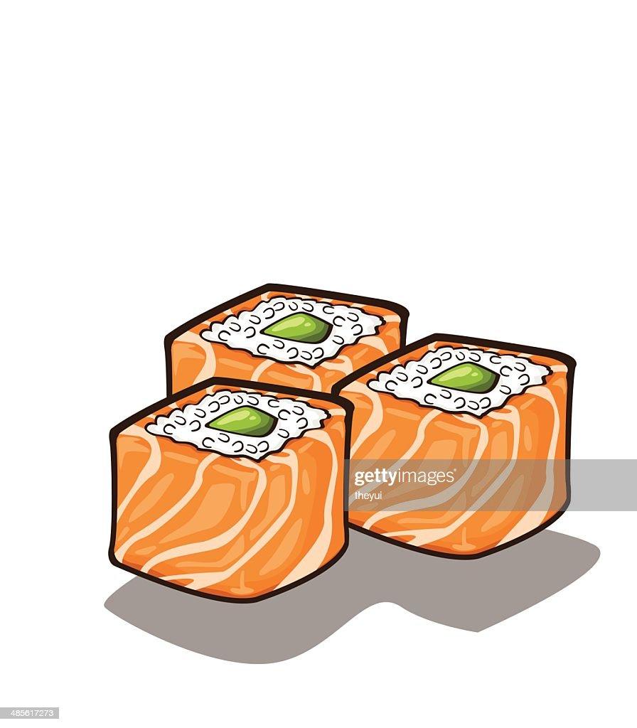 Japanese sushi salmon and rolls