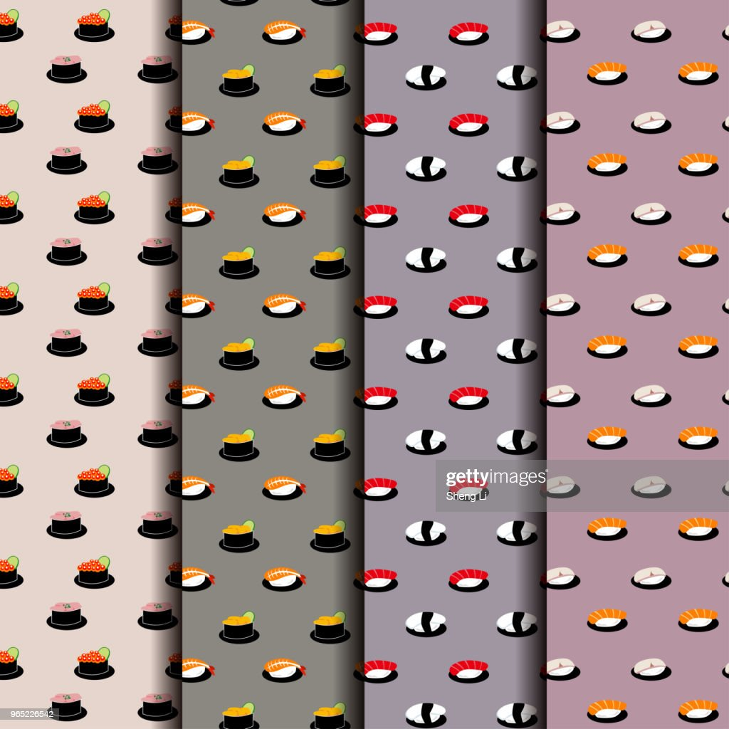 Japanese Sushi Seamless Pattern Background