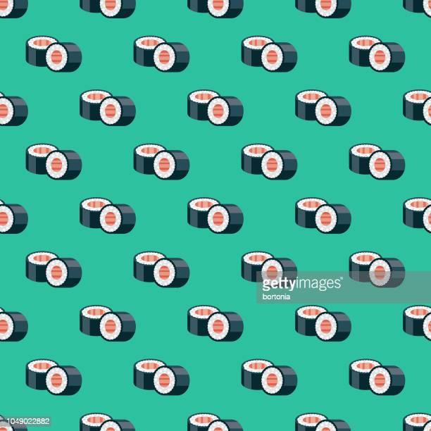 japanese sushi seamless pattern - sushi stock illustrations