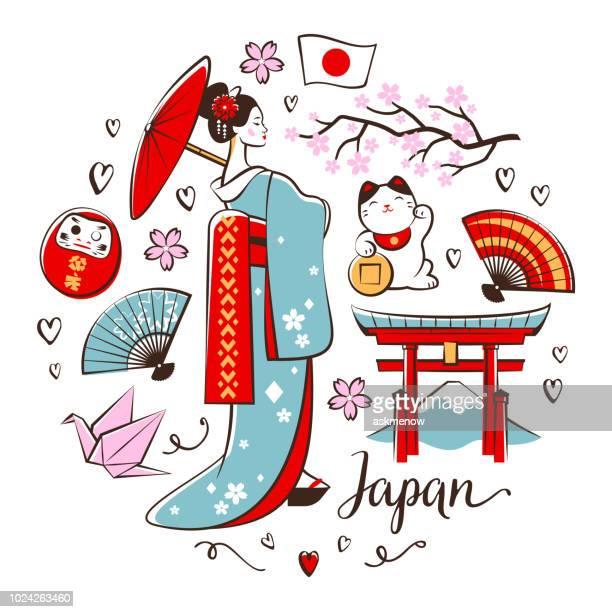ilustrações, clipart, desenhos animados e ícones de japonês símbolos - mt. fuji