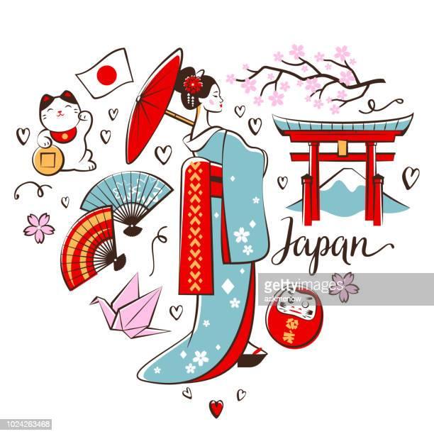 japanische symbole - japan stock-grafiken, -clipart, -cartoons und -symbole