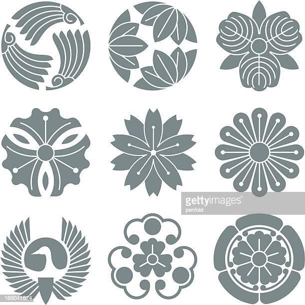 japanese symbols - japanese culture stock illustrations