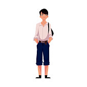 Japanese teenage schoolboy in typical uniform wearing shirt and shorts