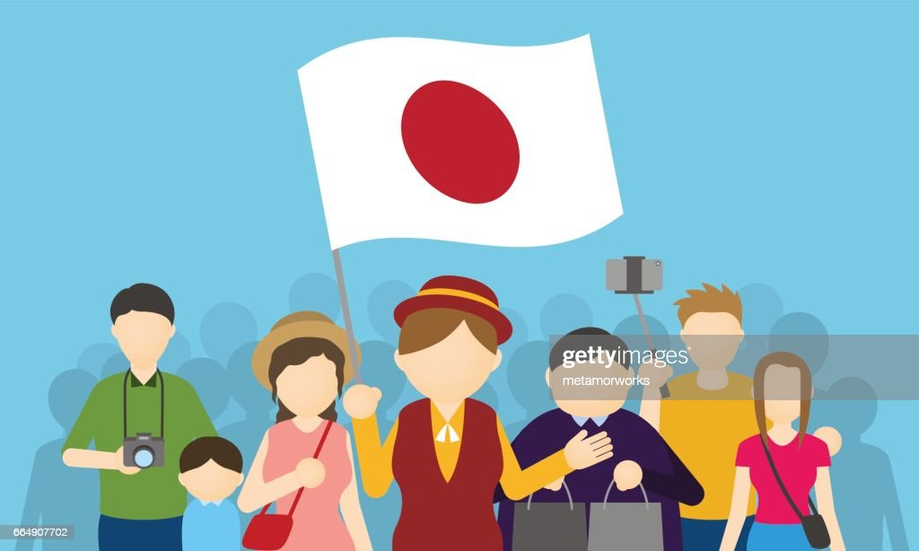 japanese tourists and tour guide, Inbound tourism, vector illustration