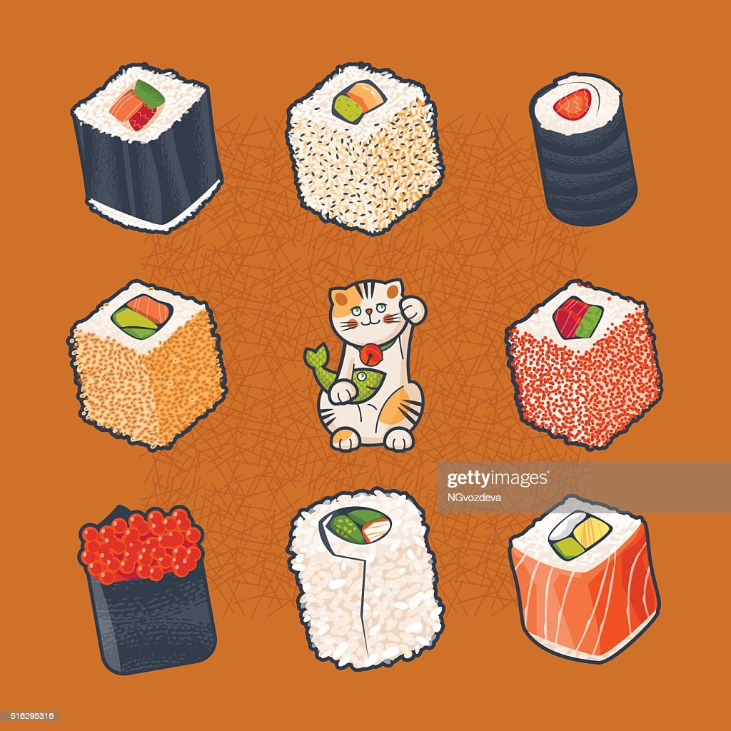 Japanese tradition. Set of sushi rolls and lucky cat