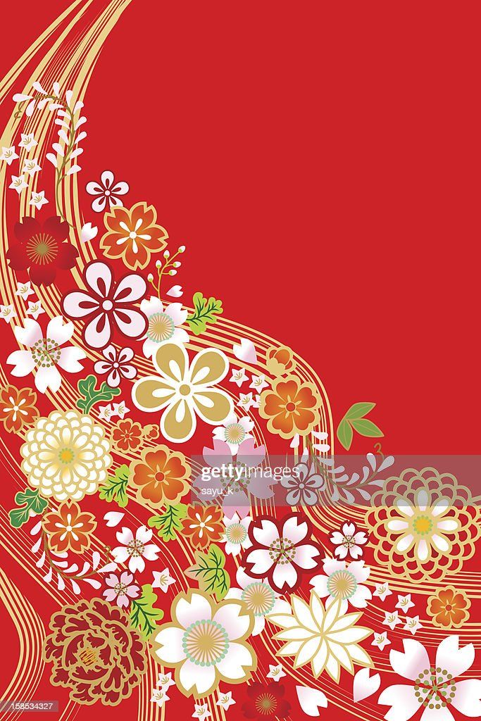 Japanese Traditional Pattern,Flowers and Plants