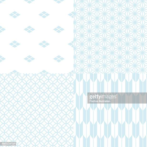 Japanese traditional seamless pattern set