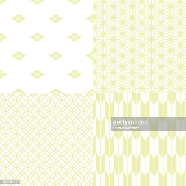 japanese traditional seamless pattern set - green tea stock illustrations, clip art, cartoons, & icons