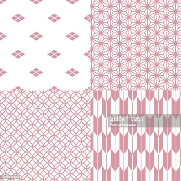 日本の伝統的なシームレス パターン ・ セット - 繊維 大麻点のイラスト素材/クリップアート素材/マンガ素材/アイコン素材