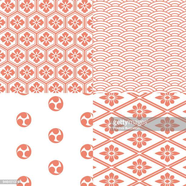 japanese traditional style seamless pattern set - traditional clothing stock illustrations