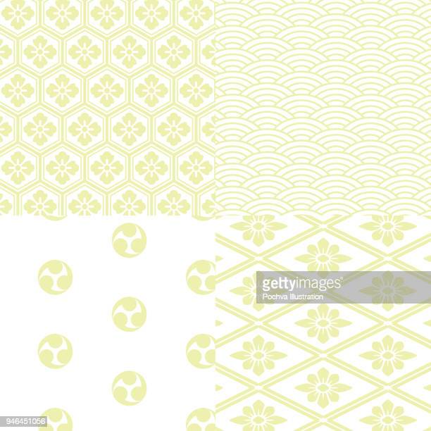 japanese traditional style seamless pattern set - green tea stock illustrations, clip art, cartoons, & icons