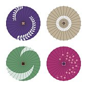 Japanese traditional waxed paper umbrella patterns