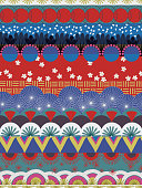 Japanese tribal pattern red blue white teal. Seamless vector pattern.