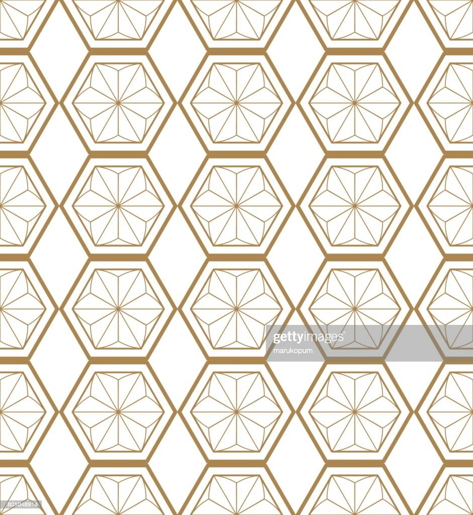 Japanese vector background. Gold pattern vector. Kumiko pattern in Japanese style