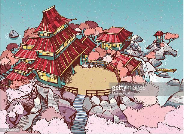 illustrations, cliparts, dessins animés et icônes de japanese village - cerisier japonais
