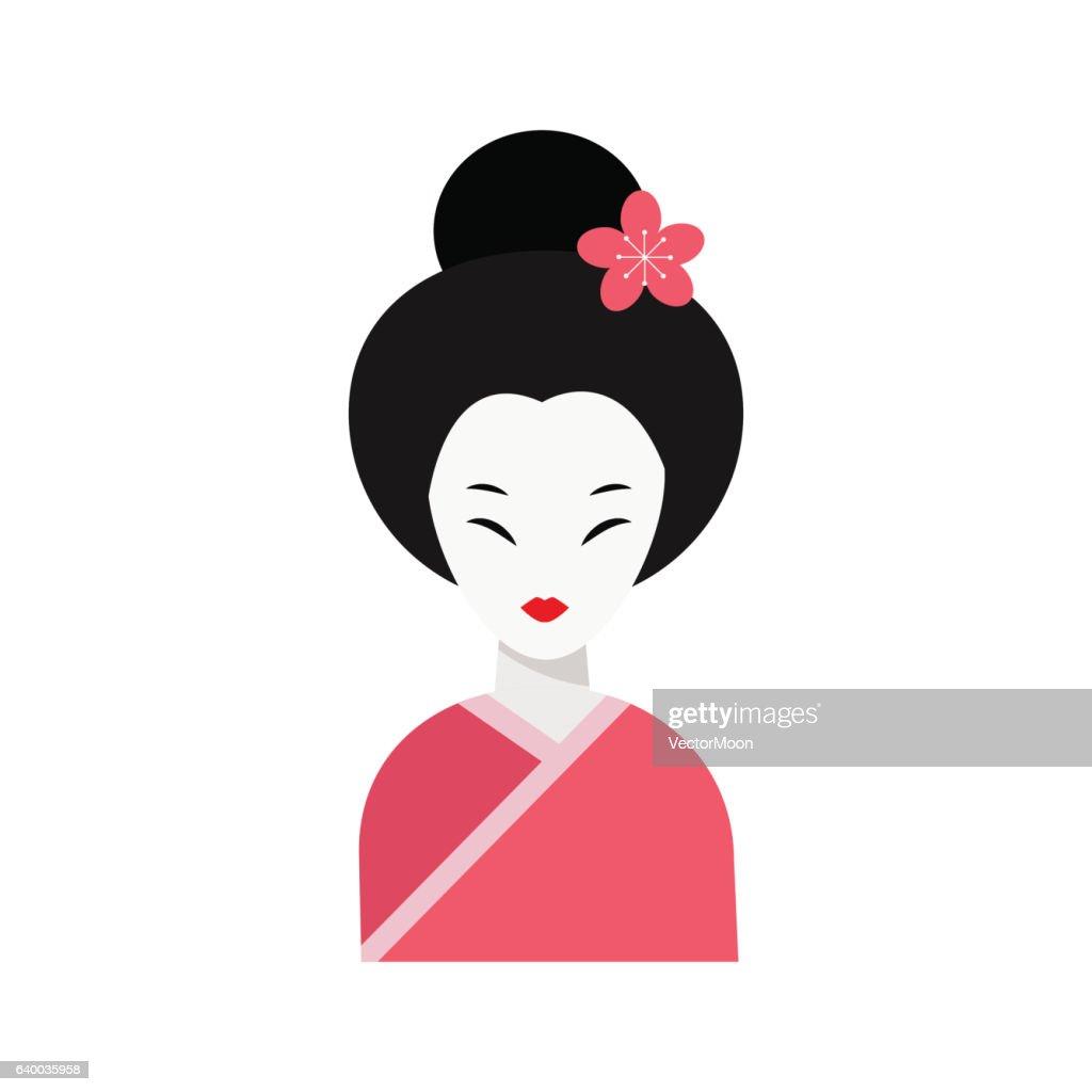 Japanese woman folk art maiden character vector.