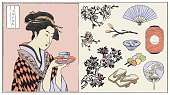 A Japanese woman holding a cup of tea. Japanese traditional style.(Vector illustration)